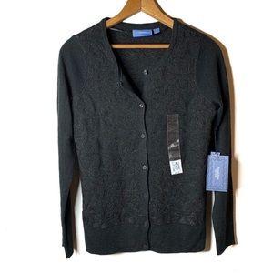 VERA WANG Simply Vera Black Cardigan Sweater S NWT